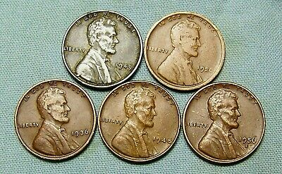 (1) 1943 P Lincoln Steel Cent & (4) Copper Wheat Varies Date and mint *3390