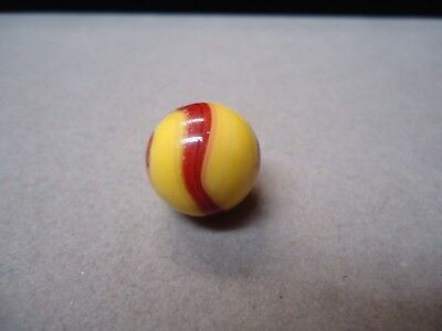 Vintage Akro Agate Yellow & Red Corkscrew Marble  11/16  Mint -