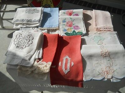 Vintage Hand/finger Tip Guest Towels Lot Of 14 Embroidered Lace