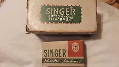 2 ANTIQUE/VINTAGE SINGER ATTACHMENTS WITH BOOKLETS and ORIGINAL BOXES