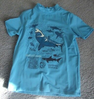 Lands' End Rash Guard Size S Small (4) Sharks Short Sleeve - Brand New Upf 50