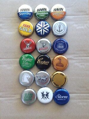18 used Australian beer bottle caps - all different and fairly recent issues.