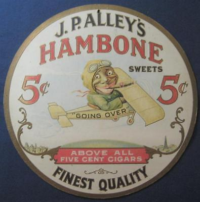 1920s JP ALLEY'S HAMBONE SWEETS CIGARS 2-SIDED MOBILE HANG TAG SIGN VTG