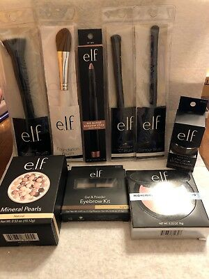 Elf assorted makeup lot of 9 Nice Items, Mineral Pearls, Brushes, Duo, Eyebrows