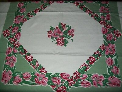 Vintage Tablecloth  Red & Pink Flowers