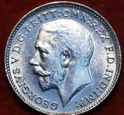 Uncirculated 1925 Great Britain 3 Pence Silver Foreign Coin