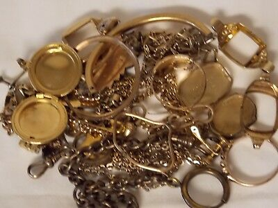 Lot of Gold Filled Jewelry Watch Cases Fobs 10k, 12k, etc. Scrap Repair 59 gs.