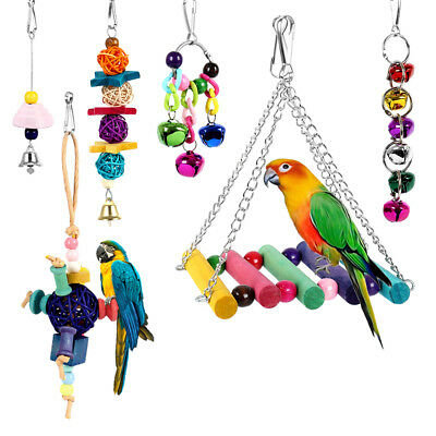 6x Parrot Hanging Swing Bird Toy Harness Cage Toys Parakeet Cockatiel Budgie new