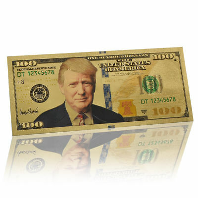10Pcs President Donald Trump Colorized $100 Dollar Bill Gold Foil Banknote US UP