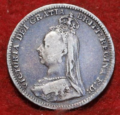 1890 Great Britain 3 Pence Silver Foreign Coin