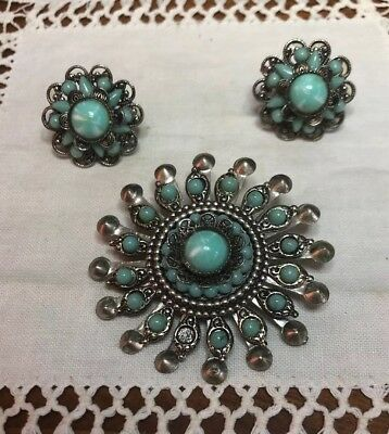 Vintage Native American Design Clip Earrings & Brooch Silver Tone Faux Tourquois
