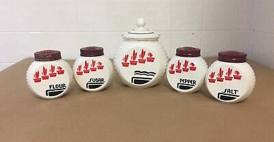 Fire King Vitrock Red Flowers Shaker And Grease Pot Set