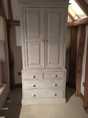 Winter Grey Chalk painted and waxed pine wardrobe with 4 drawers