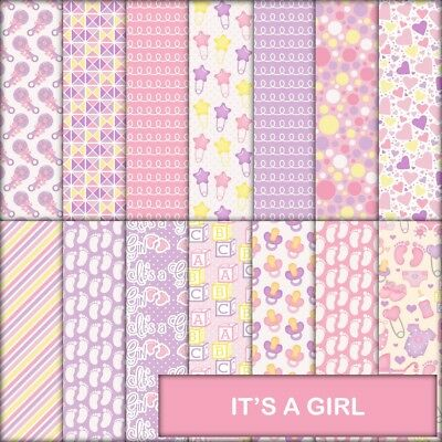 It's A Girl Scrapbook Paper - 14 X A4 Pages