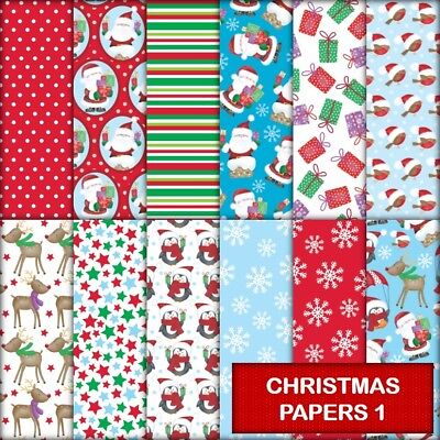 CHRISTMAS PAPERS 1 SCRAPBOOK PAPER - 12 x A4 pages.