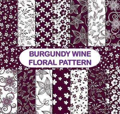 BURGUNDY WINE FLORAL PATTERN SCRAPBOOK PAPER - 14 x A4 pages