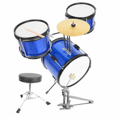 3 Piece Complete junior Drum Set Cymbals Full Size Kit with Stool & Sticks Blue
