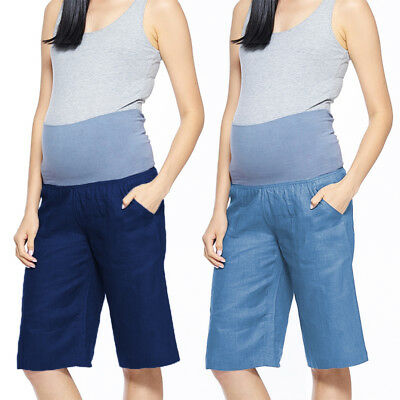 Maternity Pregnant Women High Waist Trousers Overbump Cotton Soft Shorts Pants