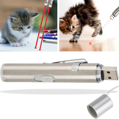 2 in 1 Mini Red Laser Pointer Pen With White LED Light Pet Cat Toy USB Charging
