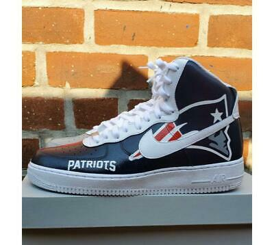 100% authentic 97559 68e8b Air Force 1 Custom New England Patriots Af1 Sneakers Red Blue   White All  Sizes