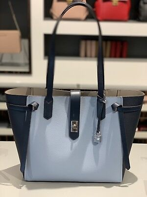 a91cd7c27c3f NWT Michael Kors Large Leather Tote Cassie Bag Handbag In Pale/Blue/Navy