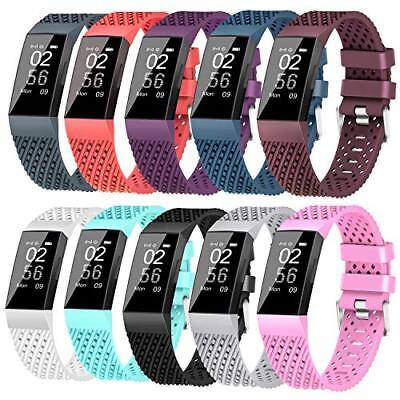 KINGACC COMPATIBLE FITBIT Charge 3 Bands, Soft Silicone Replacement