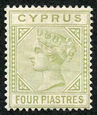 Cyprus SG14 4pi Pale Olive Green Wmk Crown CC M/Mint (hinge remainder)