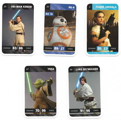 Star Wars Leclerc 5 Cartes 2018 N° 4 - 39 - 65 - 66 - 67 - Yoda Skywalker Kenobi