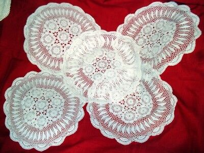 "Lot Of 5 Vintage Hand Crocheted Doilies 17"" Round Delicate Lacy White Thread Euc"