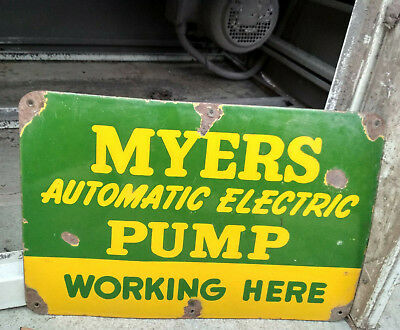 Myers Pump Porcelain Enamel Sign 18X12 Inches Single Sided