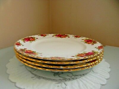 Four Royal Albert Old Country Roses Dinner Plates - 1St Quality