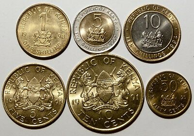 A529 Kenia lote de 6 monedas - Kenya Six coins lot