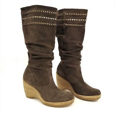 Womens Tall Brown Suede Leather Slouch Boots Size 7.5 Wedge Heel Gianni Bini