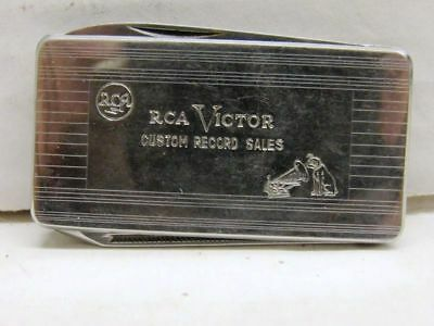 Vintage Rca Victor Advertising Money Clip Folding Pocket Knife  Made In Italy