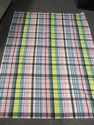 "Vintage Cotton Pink Purple Green Black Check Tablecloth 51"" X 65"""