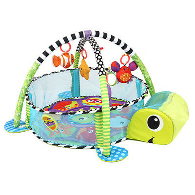 Baby Playpen Activity Gym Playmat Turtle With Toys And Ball Pit