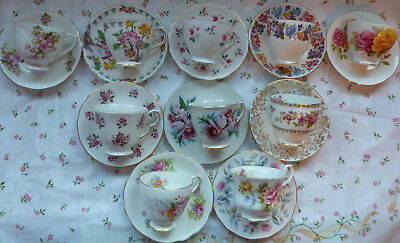 Vintage English China, Set Of 10 Tea Cups & Saucers, Pink & Floral