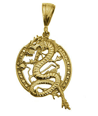 Large 24K Gold Plated Feng Shui Chinese Dragon Pendant Charm life strength New