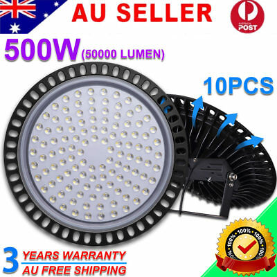 10X 500W LED High Bay Light Ultra-thin Factory Warehouse Industrial Shed Lamp AU