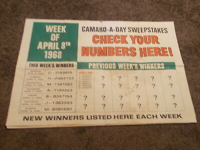 Original 1968 Sinclair Win A Camaro Each Day Window Poster Match Number Tough 2
