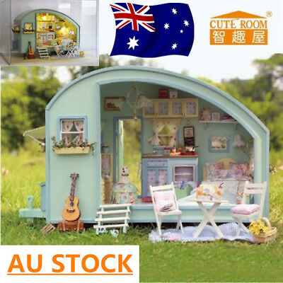 DIY Wooden Doll House Miniature Kit Caravan Dollhouse + Music & Light Xmas Gift