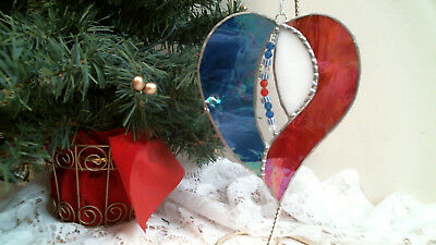 STAINED GLASS RED WHITE & BLUE HEART suncatcher OOAK hand crafted ornament