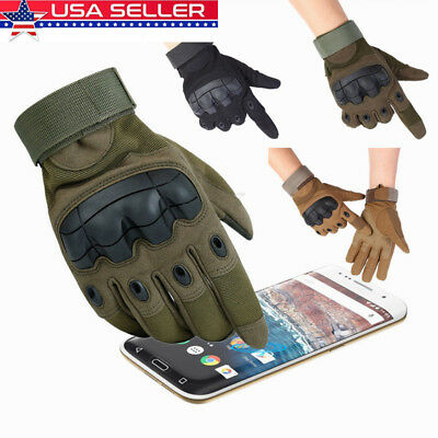 Military Tactical Full Finger Gloves Touchscreen Outdoor Airsoft Hard Knuckle US