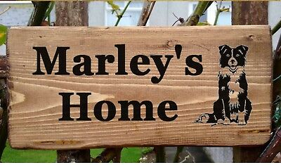 Border Collie Sheepdog Personalised Name Plate Sign Plaque Pet Dog Kennel Bowl