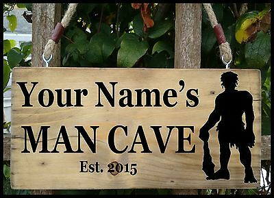 MAN CAVE Sign Shed Garage Workshop Door  Plaque Wood Fun Gift PERSONALISED NAME