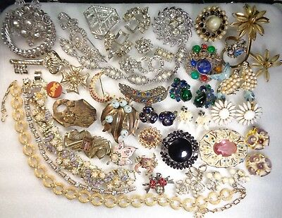 Vintage RHINESTONE Victorian Nouveau Brooches STAR Necklace REPAIR Jewelry Lot