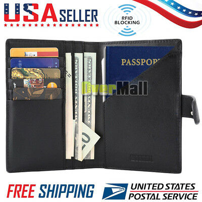 RFID Blocking Genuine Leather 9 Slot Passport Holder Travel Wallet Card Cover
