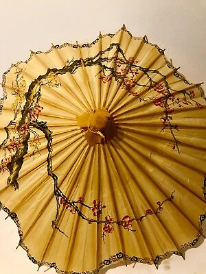 Vintage Rice Paper Umbrella Chinese Japanese Parasol Dance Prop Wedding Asian