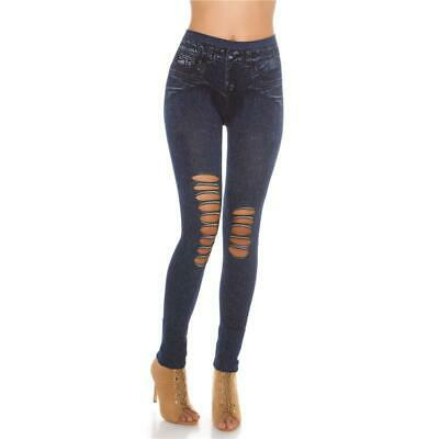 Sexy Jeggings Leggings In Jeans-Optik Mit Rissen Dunkelblau 34/36/38 #H1400