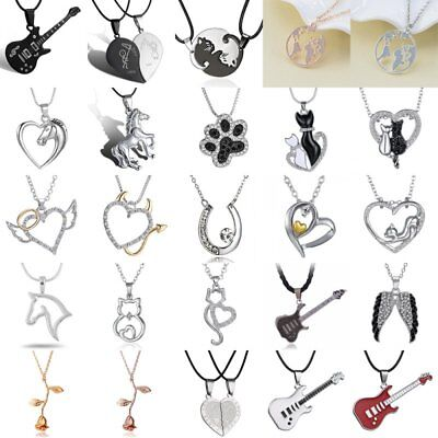 Womens Mens Cat Map Heart Horse Pendant Necklace Chain Couple Jewellery Gifts